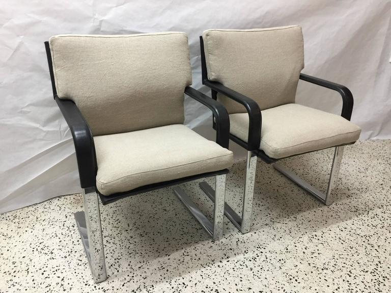 Set of Four Matteo Grassi Stitched Leather and Chrome Dining Chairs 2