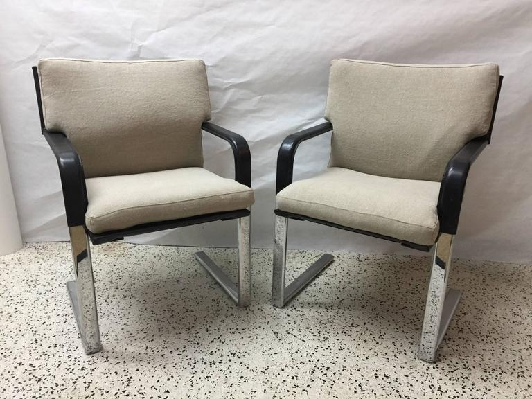 Set of Four Matteo Grassi Stitched Leather and Chrome Dining Chairs 6