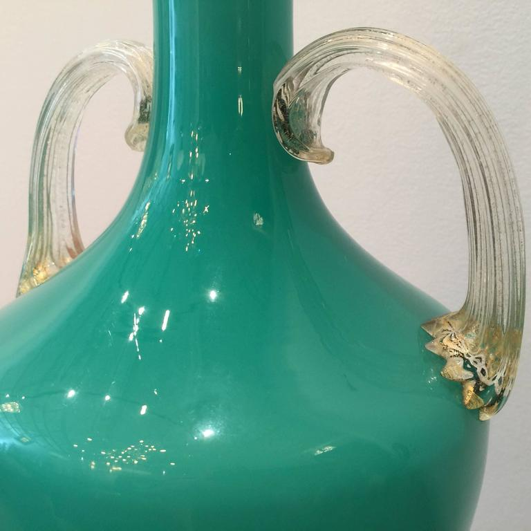 Aqua-Green Barovier Murano Table Lamp In Excellent Condition For Sale In East Hampton, NY