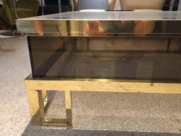 French Jansen Brass Vitrine with Sliding Top Cocktail Table For Sale