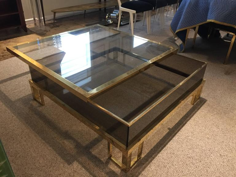Jansen Brass Vitrine with Sliding Top Cocktail Table In Good Condition For Sale In East Hampton, NY