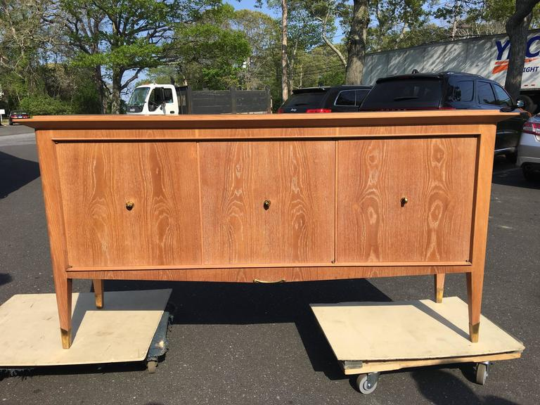 Natural Oak French Three-Door Cabinet-Sideboard In Good Condition For Sale In East Hampton, NY