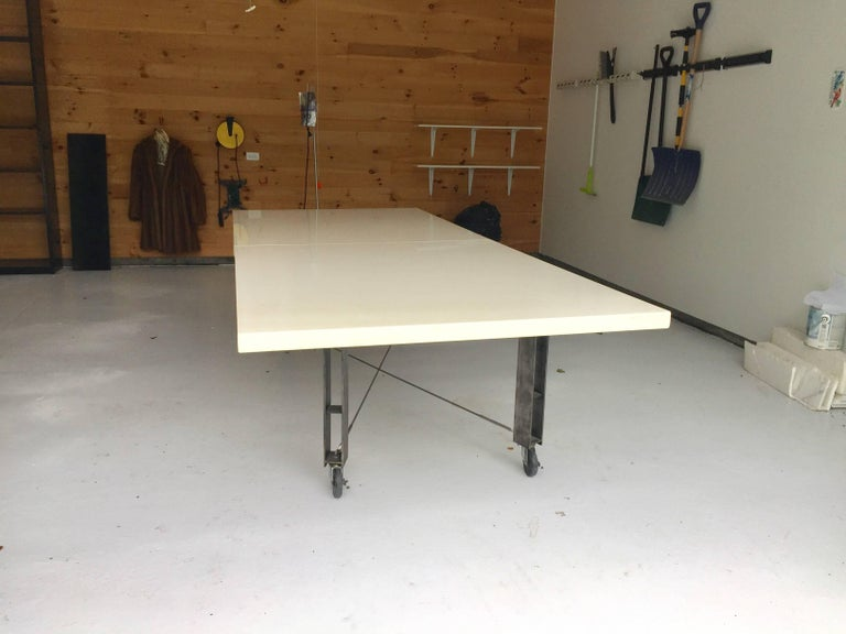 American Architect James D'auria Industrial Dining or Conference Table  For Sale