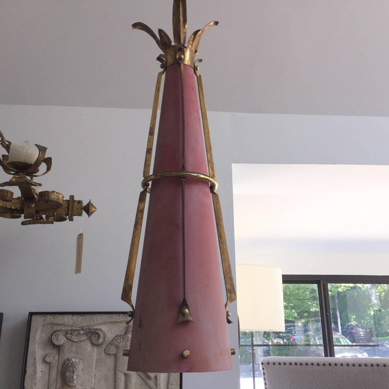 French Metal Cone Pendant Light (2 Available) 6