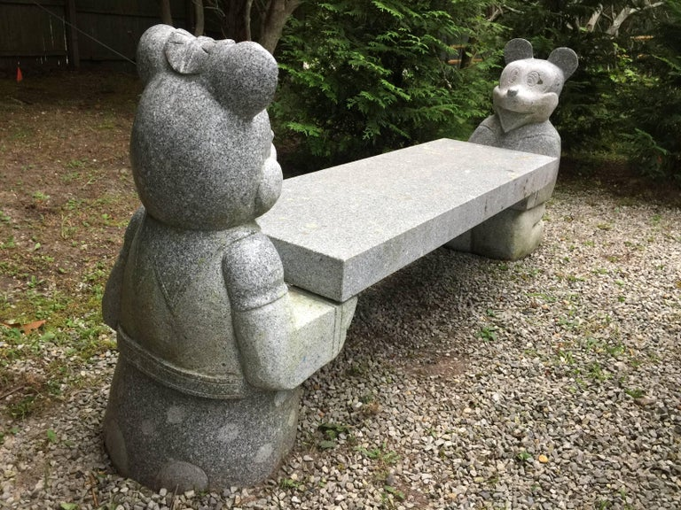 Mickey Mouse And Minnie Mouse Bench In Carved Solid