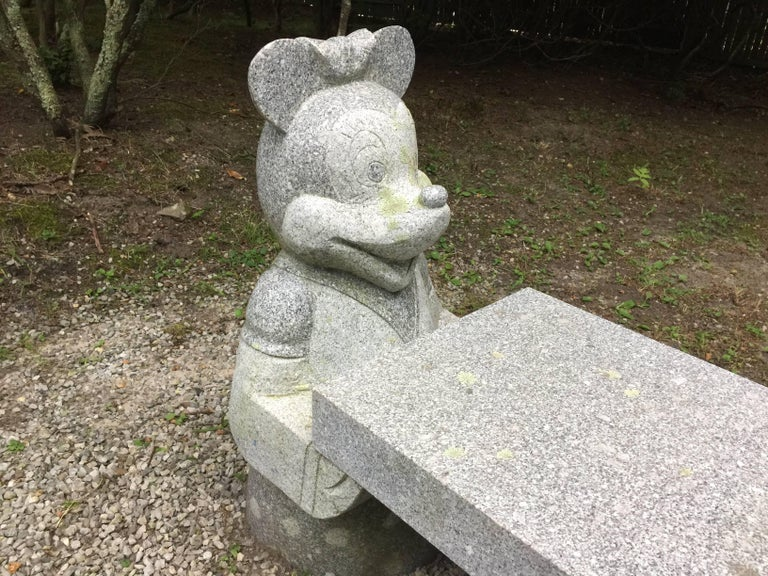 Mickey Mouse and Minnie Mouse Bench in Carved Solid Granite 4