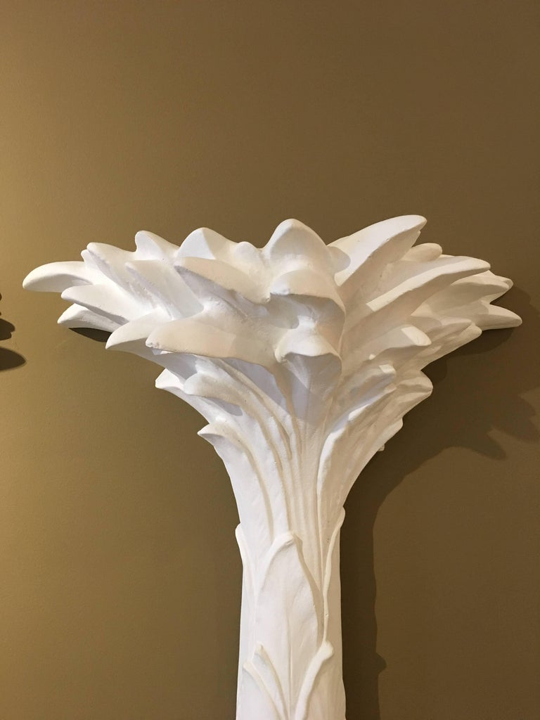 Sirmos Pair of Plaster Palm Tree Torchiere Uplights, Serge Roche Style 2