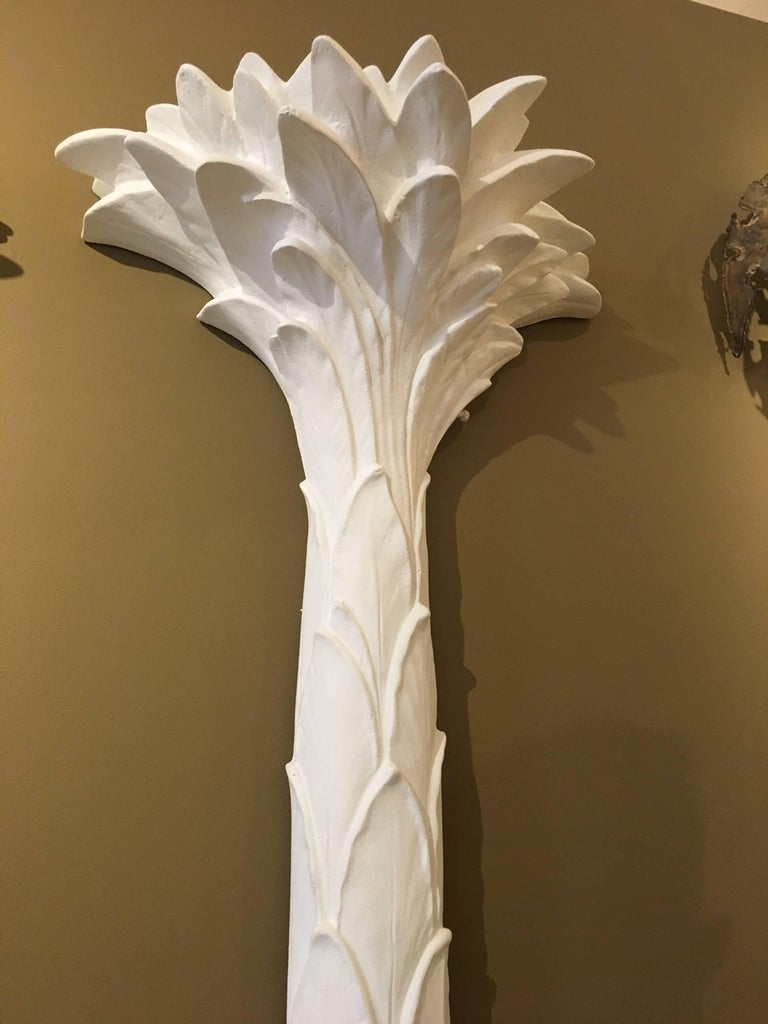 Sirmos Pair of Plaster Palm Tree Torchiere Uplights, Serge Roche Style 4
