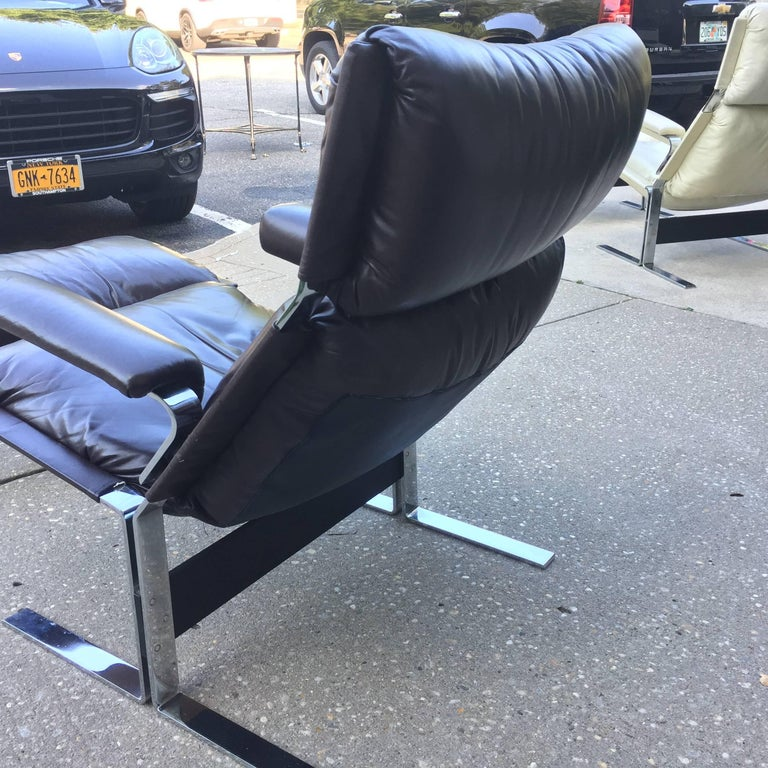 Stainless Steel Saporiti Lounge Chair and Ottoman For Sale