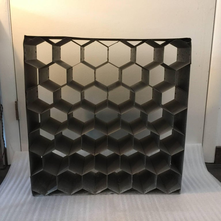 Vintage Galvanized Metal Honeycomb Wine Racks For Sale At
