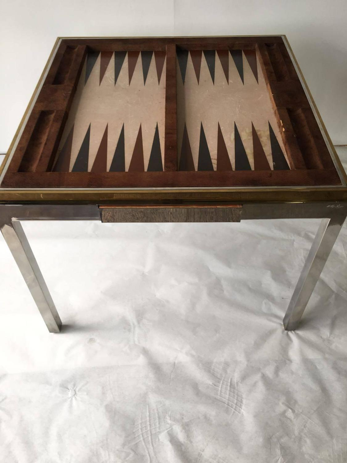 Willy Rizzo Vintage Signed Backgammon Game Table For Sale at 1stdibs