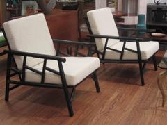 Pair of Ficks Reed Rattan Lounge Chairs