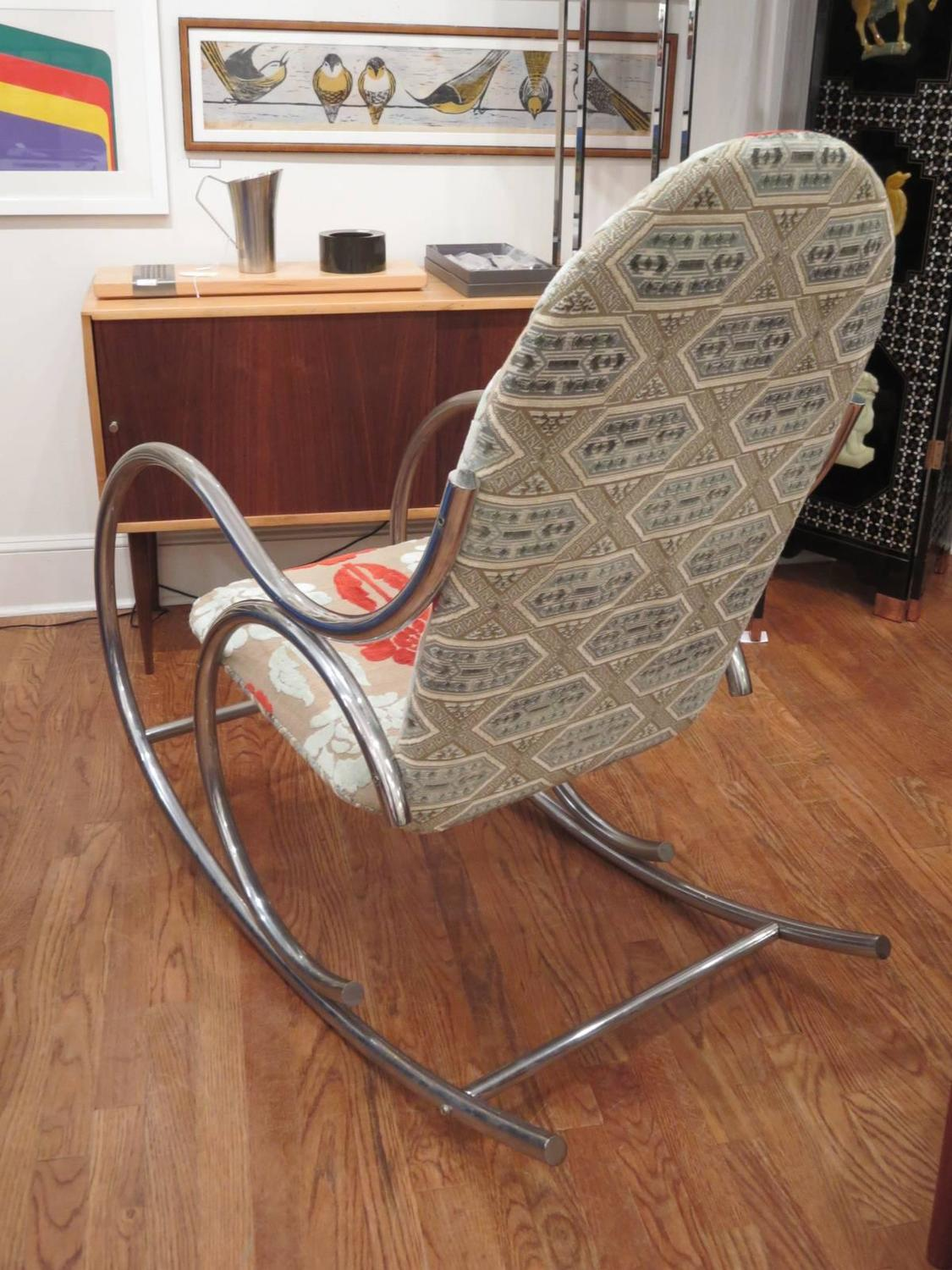 Mid-Century Thonet Style Rocking Chair For Sale at 1stdibs