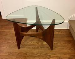 Adrian Pearsall WalnutEnd Table with Triangular Glass Top