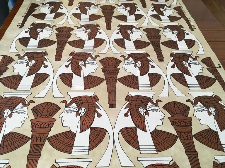 "1970s ""Tut Tut"" Hand Printed Wallpaper by Jud Scott, Four Rolls 2"