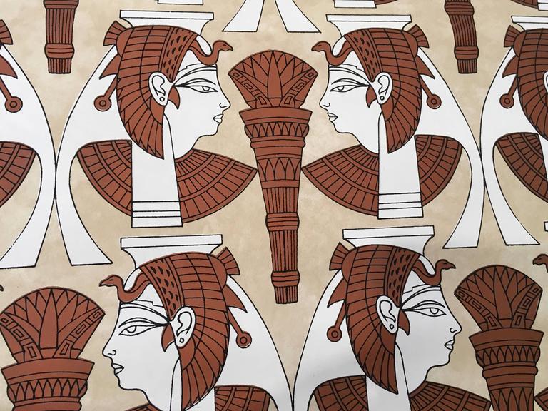 "1970s ""Tut Tut"" Hand Printed Wallpaper by Jud Scott, Four Rolls 3"