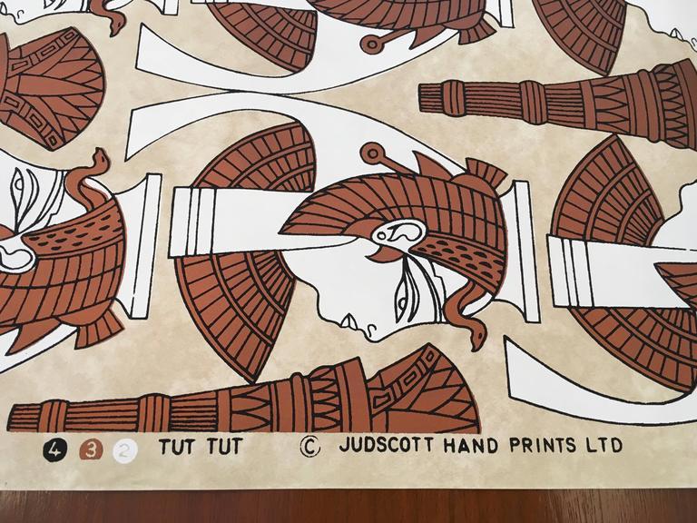 "1970s ""Tut Tut"" Hand Printed Wallpaper by Jud Scott, Four Rolls 4"