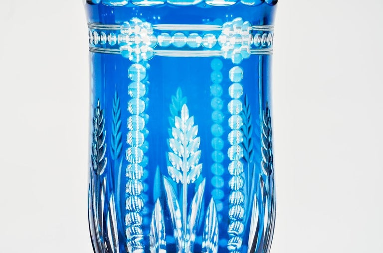 Belgian Pair of Val Saint Lambert Art Deco Crystal Vases Teal Blue Overlay Cut to Clear For Sale