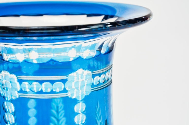 Pair of Val Saint Lambert Art Deco Crystal Vases Teal Blue Overlay Cut to Clear In Excellent Condition For Sale In Great Barrington, MA