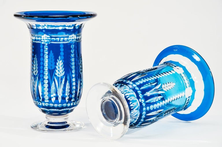 Pair of Val Saint Lambert Art Deco Crystal Vases Teal Blue Overlay Cut to Clear For Sale 1