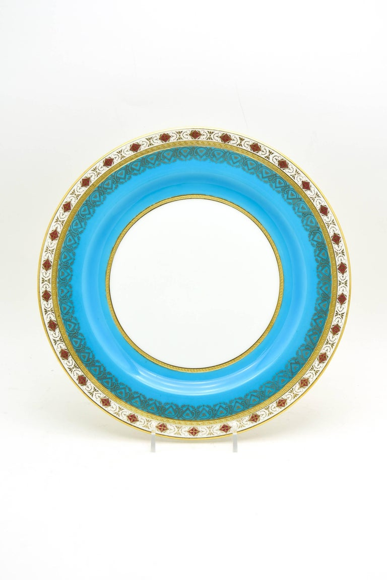 Neoclassical Set of 12 Minton Turquoise Dinner Plates with Red and Raised Gold Medallions For Sale