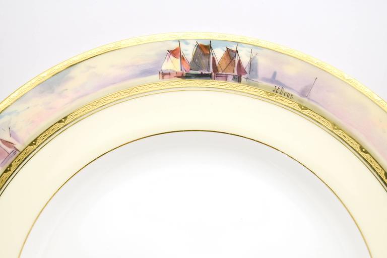 12 Minton Dinner Plates Hand-Painted Nautical Maritime Motif  Signed J E Dean For Sale 4