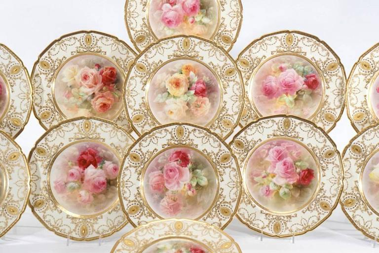 English 12 Royal Doulton Magnificent Hand-Painted Dinner Service Plates Signed Curnock For Sale & 12 Royal Doulton Magnificent Hand-Painted Dinner Service Plates ...