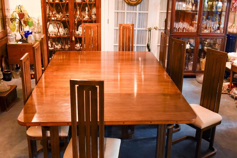 Frank Lloyd Wright Style Dining Table With Twelve Matching