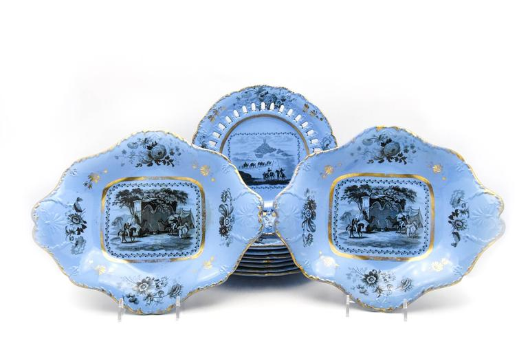 This early 19th century ten piece dessert service was made by John Ridgways, circa 1802. It consists of 8 dessert plates measuring 8 1/2