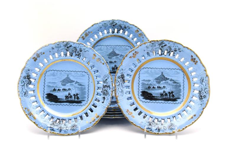 John Ridgways Early 19th Century Ten Piece Dessert Set with Views in Mesopotamia In Excellent Condition For Sale In Great Barrington, MA