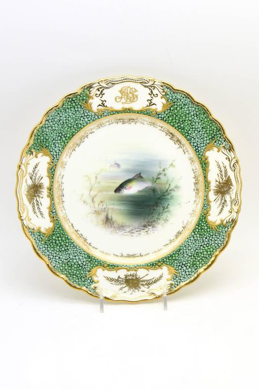 English 18-Piece Coalport Hand-Painted Artist Signed Fish Service with