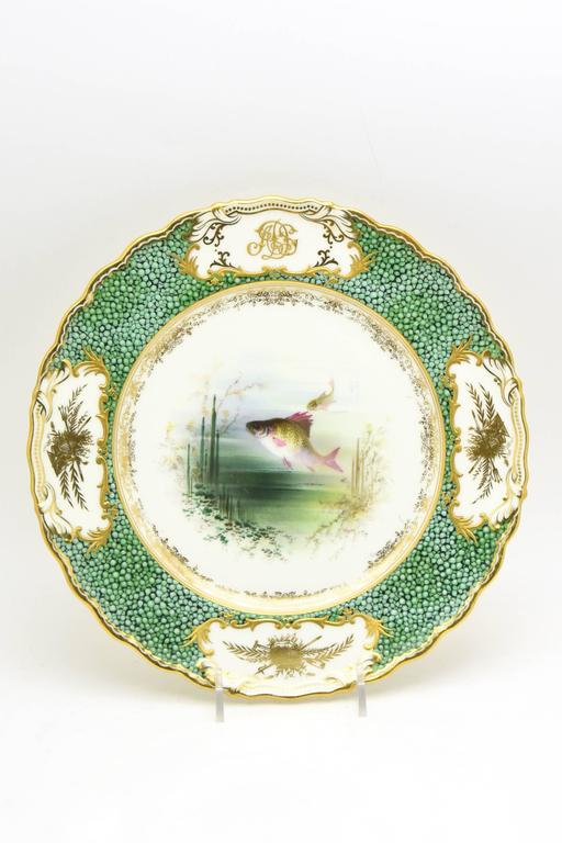 19th Century 18-Piece Coalport Hand-Painted Artist Signed Fish Service with