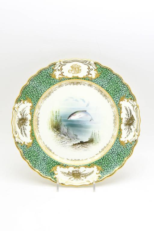 18-Piece Coalport Hand-Painted Artist Signed Fish Service with