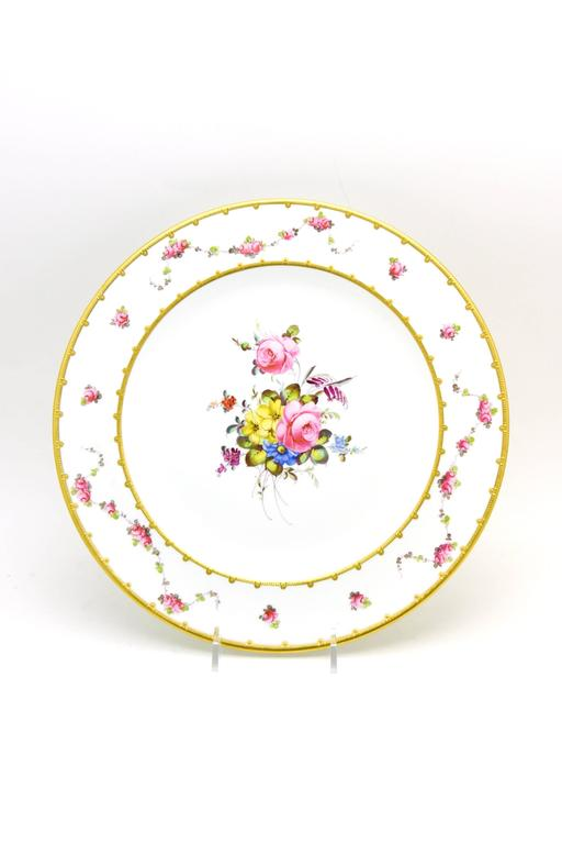 Porcelain Set of 12 Royal Crown Derby Hand-Painted Dinner Plates with Floral Bouquets For Sale