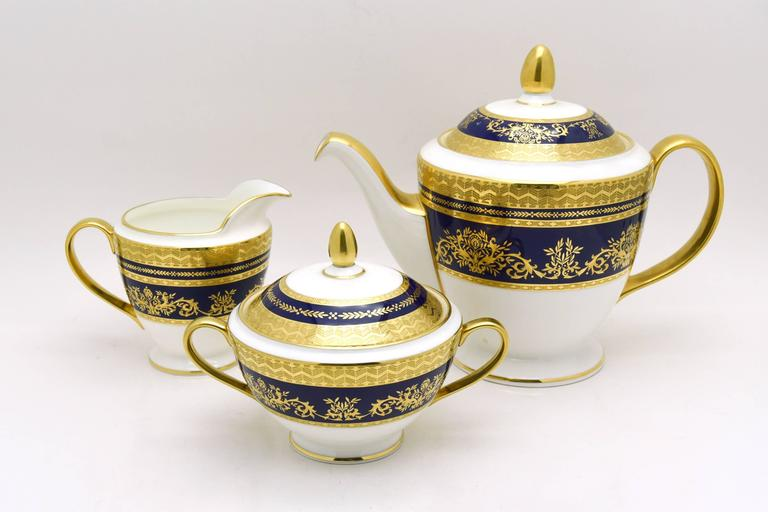 It's always time to entertain! This is one of the most elegant and versatile patterns imaginable in a Classic and rare Minton cobalt blue pattern with raised paste gold on a white ground. This works with many different styles and colorways and