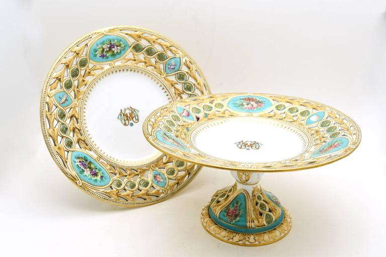 Porcelain 19th Century Worcester Hand-Painted Turquoise Partial Dessert Set For Sale