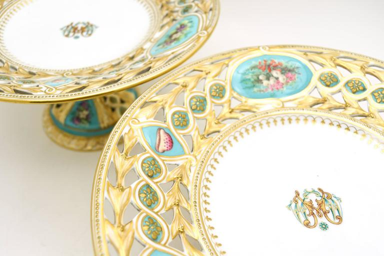 19th Century Worcester Hand-Painted Turquoise Partial Dessert Set For Sale 2