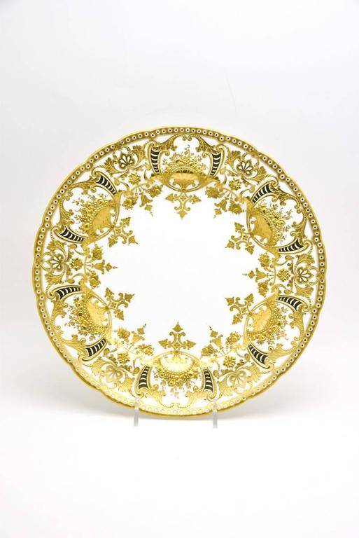 English 12 Royal Crown Derby Neoclassical Dinner Plates with Profuse Raised Paste Gold  For Sale