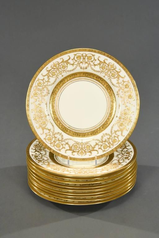 This set of ten magnificent Minton plates can be used as dinner plates and service or presentation plates and will set the most elegant table imaginable. Exclusive to Tiffany and Co, these were considered