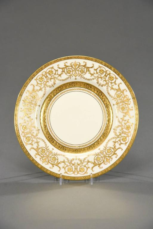 Art Nouveau Ten Minton for Tiffany Gilt Dinner Service Plates with Profuse Raised Paste Gold For Sale