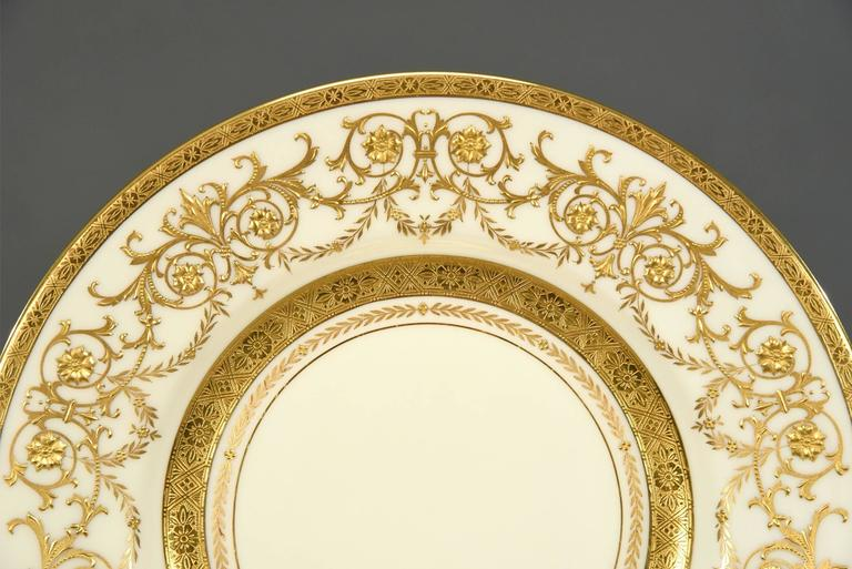 English Ten Minton for Tiffany Gilt Dinner Service Plates with Profuse Raised Paste Gold For Sale