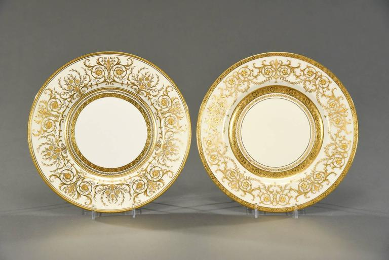 20th Century Ten Minton for Tiffany Gilt Dinner Service Plates with Profuse Raised Paste Gold For Sale
