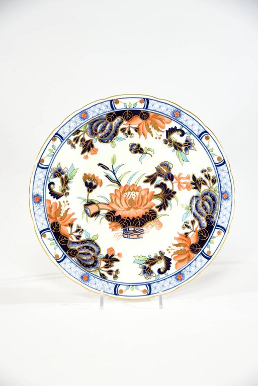 Japonisme Set of 12 Royal Crown Derby Imari Decorated Dessert Plates for Tiffany For Sale