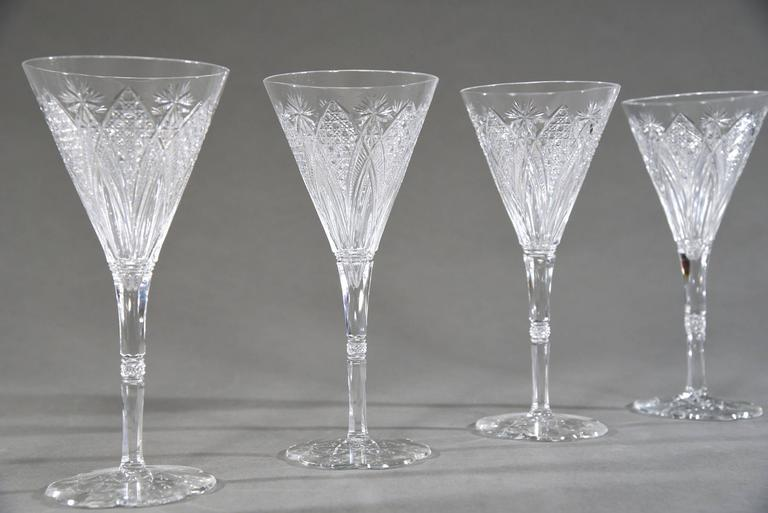set of 12 signed baccarat elbeuf crystal tall water goblets 3 - Water Goblets