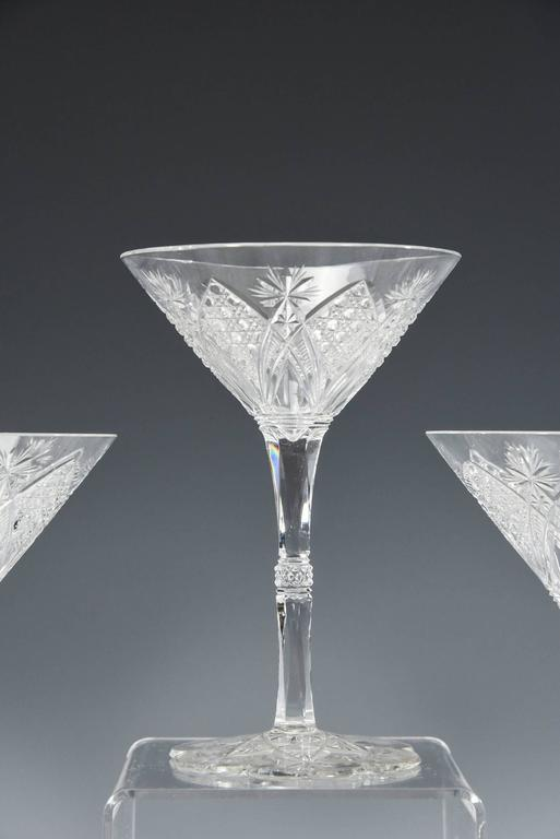 Art Nouveau Baccarat Set of 12 Elbeuf Cut Crystal Martini Cocktail Champagne Goblets For Sale