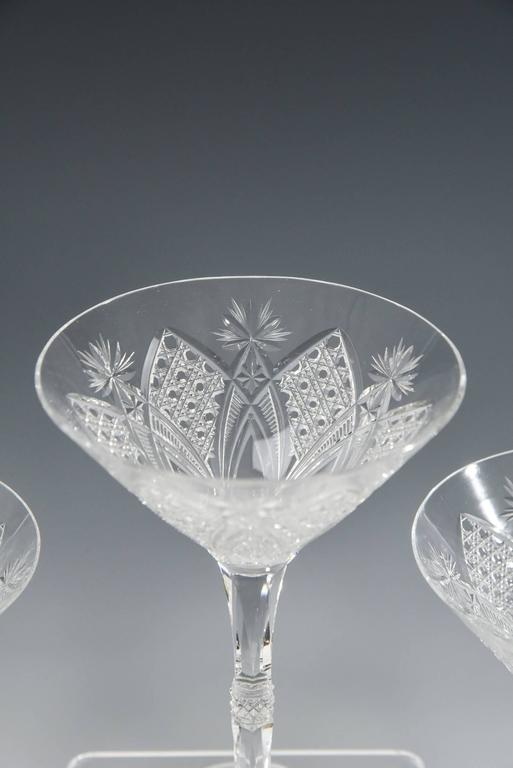 French Baccarat Set of 12 Elbeuf Cut Crystal Martini Cocktail Champagne Goblets For Sale