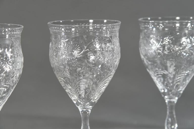 Aesthetic Movement 12 Webb Hand Blown Large Crystal Goblets w/ Flared Rim Engraved Prunus Blossoms For Sale