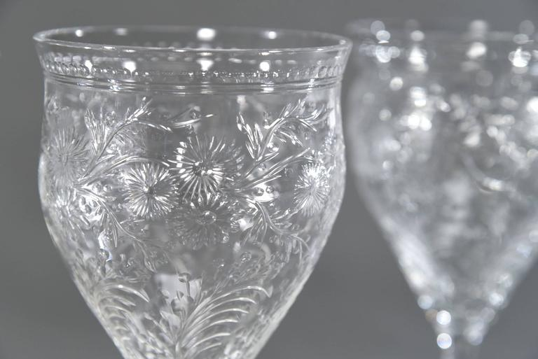 English 12 Webb Hand Blown Large Crystal Goblets w/ Flared Rim Engraved Prunus Blossoms For Sale