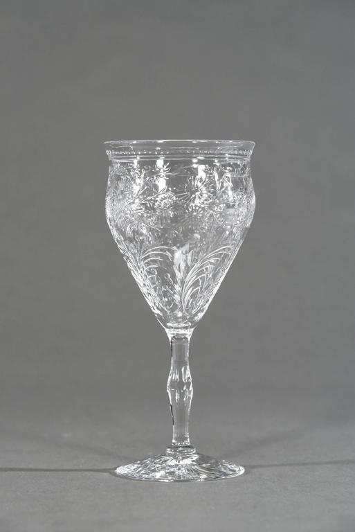 12 Webb Hand Blown Large Crystal Goblets w/ Flared Rim Engraved Prunus Blossoms For Sale 2
