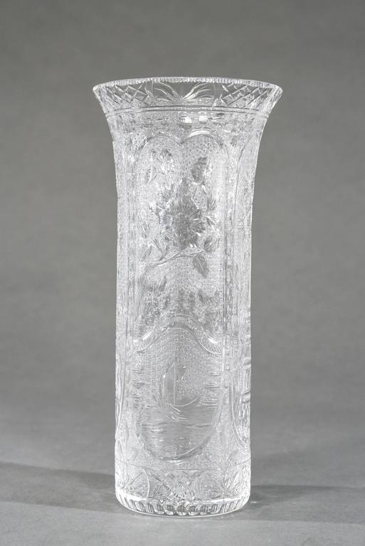 This is a rare handblown crystal vase made by Stevens and Williams, England, circa 1910. The 12.25